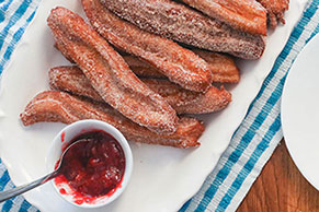 Churros with Strawberry Dipping Sauce