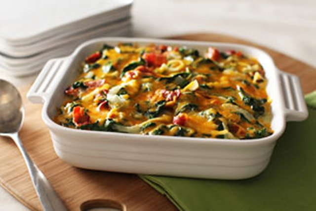 Cheesy Bacon Scalloped Potatoes with Spinach