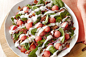 Spinach Salad with Bacon & Watermelon