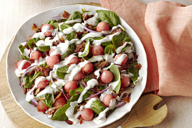 Spinach Salad with Bacon & Watermelon Image 1