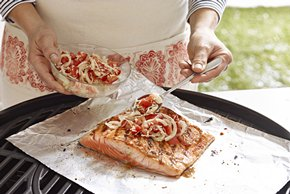 Perfecto salmón asado a la bruschetta
