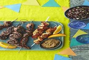 Grilled Chicken, Beef & Sausage Kabobs