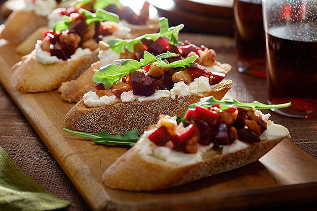 Roasted Beet, Feta and Walnut-Topped Crostini