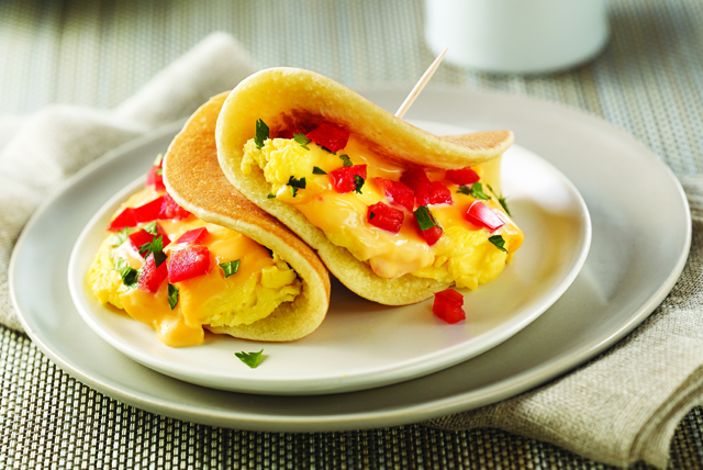 "Cheesy Morning Pancake ""Tacos"" Image 1"
