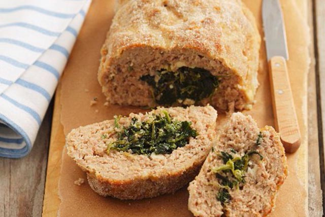 Pork Meatloaf Stuffed with Spinach and Feta
