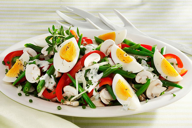 Colorful Bean, Egg & Mushroom Salad Image 1