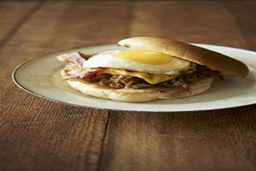 BBQ Beef, Bacon and Egg Open-Face Sandwiches