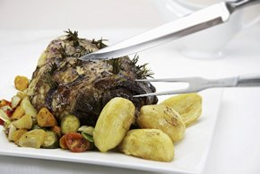 Roasted Leg of Lamb with Potatoes and Zucchini
