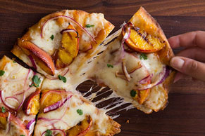 Grilled Peach and Pepper Jack Pizza