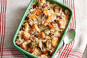 Bacon, Brussels Sprouts & Squash Gratin