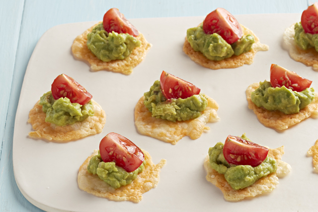 Guacamole-Topped Cheese Crisps