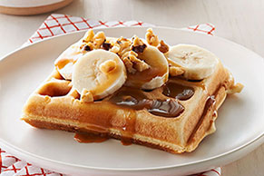 Banana Waffles with Caramel-Nut Sauce