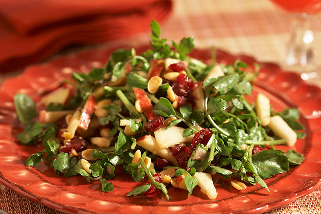 Watercress Salad with Apples, Cranberries & Peanuts
