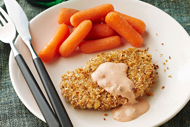 Panko-Almond-Crusted Pork Medallions with Carrots Image 1