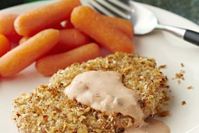 Panko-Almond-Crusted Pork Medallions with Carrots