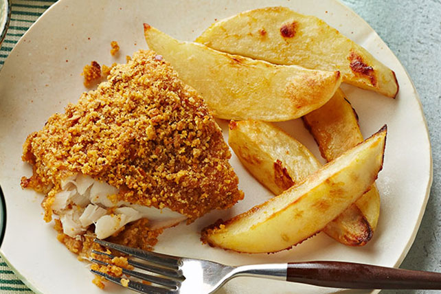 Pretzel-Crusted Fish & Chips Image 1
