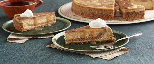 Cheesecake de calabaza con remolinos de chocolate