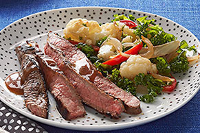 Marinated Skirt Steak with Pan-Roasted Vegetables