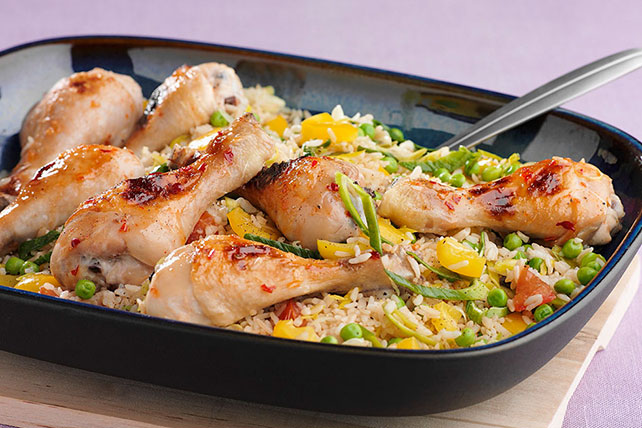 Honey-Lime Glazed Chicken over Rice