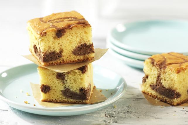 Carrés dorés façon gâteau au fromage au chocolat Image 1