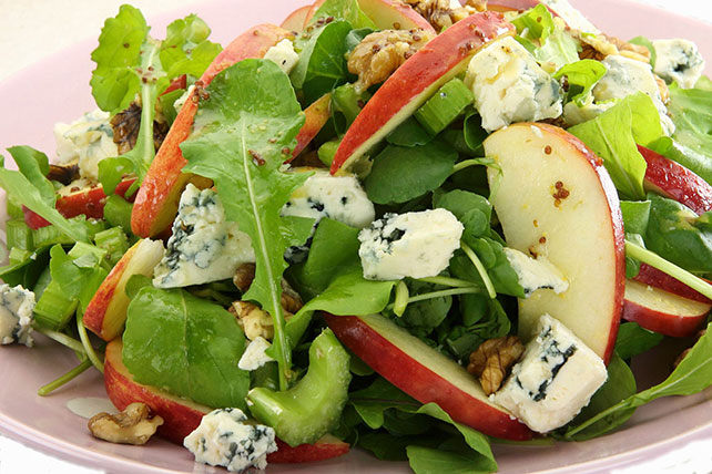 Salad Greens with Apples, Blue Cheese and Sugared Nuts