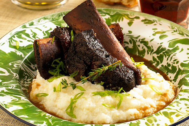 Sweet and Spicy Short Ribs with Cheesy Polenta