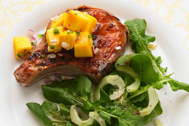 Barbecue Pork Chops with Mango Salsa