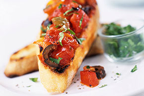 Roasted Tomato & Olive Bruschetta