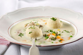 Creamy Chicken Soup with Matzo