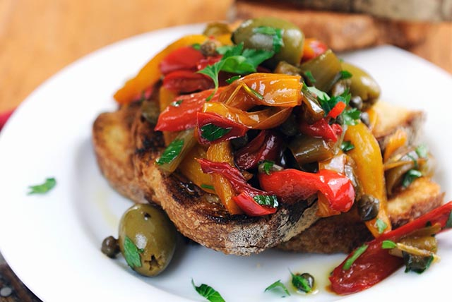 Balsamic, Pepper & Olive Bruschetta