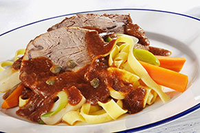 Beef Roast with Carrot-Leek Pasta