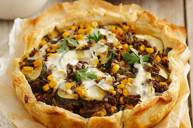 Beefy Zucchini & Bean Phyllo Tart Image 1