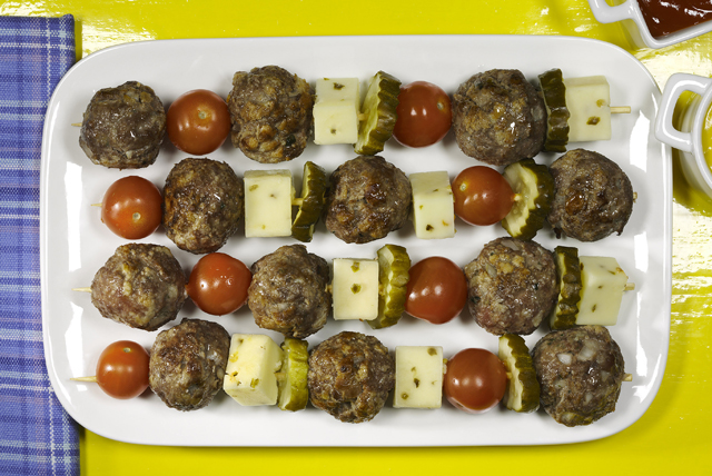 Cheeseburger Meatball Kabobs