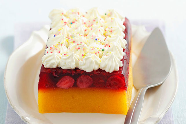 Layered Peach-Raspberry JELL-O Loaf