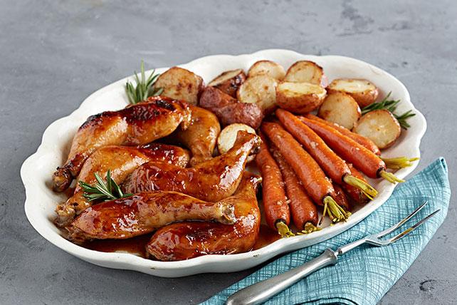 Cena de pollo asado con salsa de maple y mostaza Image 1