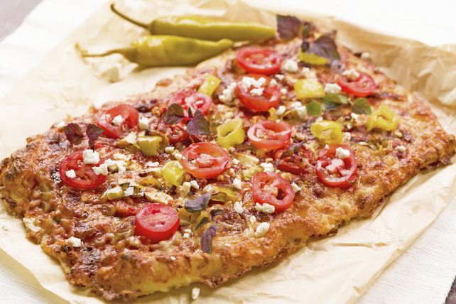 Pizza with Pepperoncini, Feta and Tomatoes Image 1