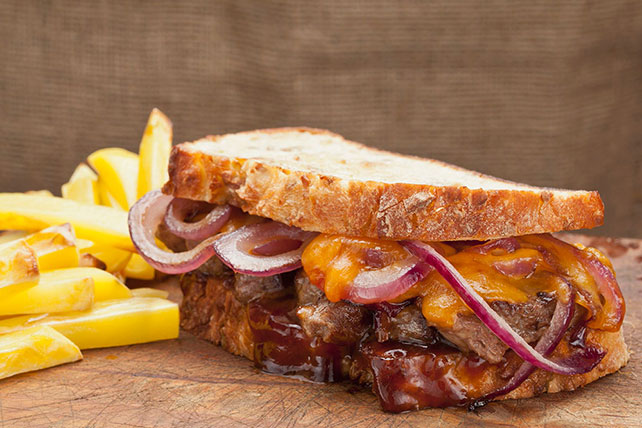 Steak, Cheddar and Onion Sandwich