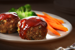 Cheesy BBQ Glazed Mini Meatloaves