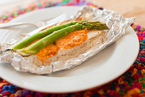 Foil-Pack Creamy Tilapia and Asparagus Packet