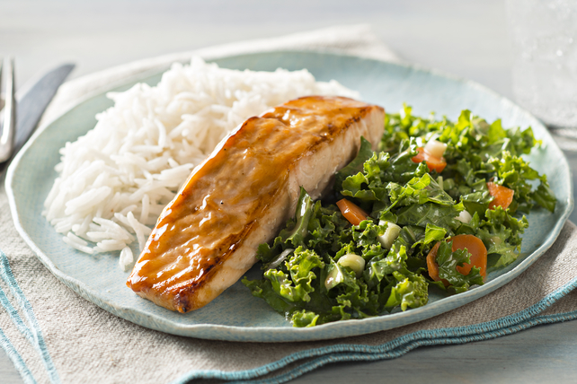 Sesame Salmon with Coconut Rice and Kale Image 1
