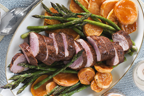 Filet de porc glacé et légumes rôtis