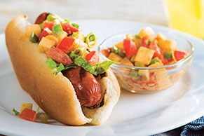 Grilled Hot Dogs with Spicy Jalapeño Topping