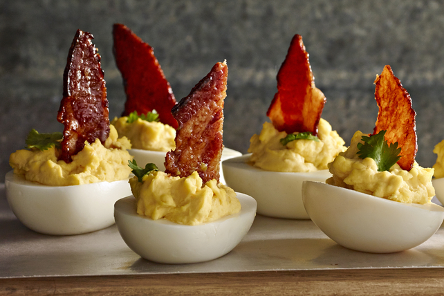 Maple-Candied Bacon with Devilled Eggs Image 1