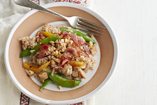 Chicken Fried Rice with Bacon| Mango and Sugar Snap Peas