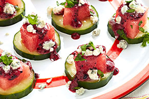 Watermelon Appetizers with Blueberry Dressing