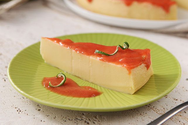 Lime & Cream Cheese Flan with Guava Sauce Image 1