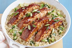 Barbecue Salmon with Zucchini and Quinoa