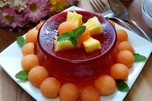 Postre de gelatina JELL-O sabor melón tropical