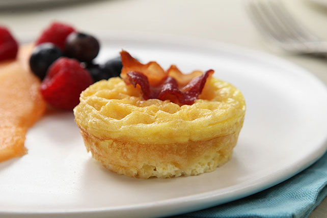 Cheesy Eggs & Bacon on Mini Waffles Image 1