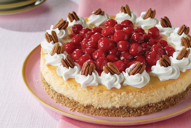 Cheesecake de chocolate blanco| cerezas y nueces